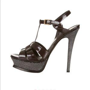 YSL stingray tribute sandals black 37.5